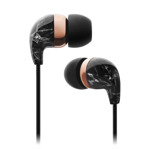 In-Ear Black Marble Rose Gold