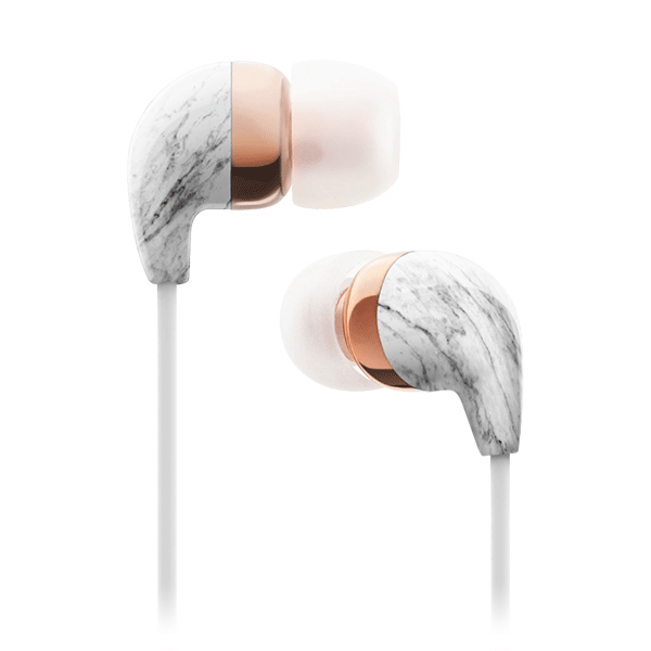 In-Ear White Marble Rose Gold