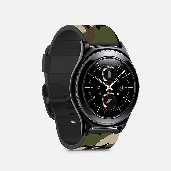 Samsung Gear S2 Classic Woodland Camoflag Watch Band - Black ...