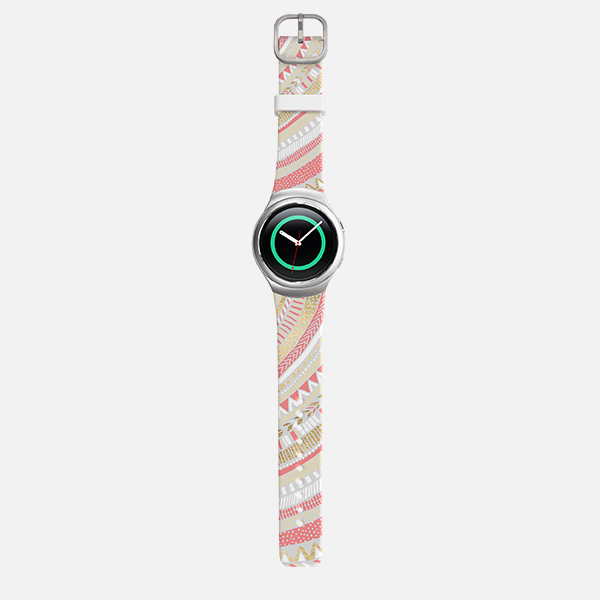 Samsung Gear S2 Sport Gold + Coral Tribal Watch Band - White