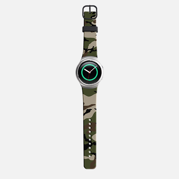 Samsung Gear S2 Sport Woodland Camoflag Watch Band - Black